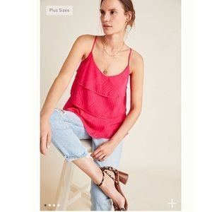 Anthropologie AMELINE TIERED CAMI Amadi Pink NWT
